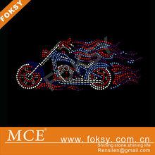 Korean rhienstone transfer Fire Motorcycle design