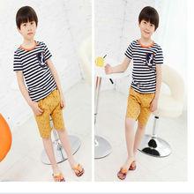 fashion short sleeve with 100% cotton boy kids striped t-shirt