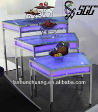 Fanned Stainless Steel Dinning/Banquet/Tea-Break/Bar Table with LED Lamp/Display Table