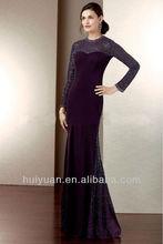 purple beaded bling high neck full length evening dresses long sleeve