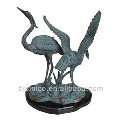 Vintage Bronze Heron Egret Crane Bird Figure, Bronze Art Sculpture, Home Decoration Statue Pair