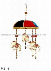 Beautifully decorated Indian fabric Elephant bell door wall hangings, elephant bell hanging, Rajasthani colorful wall hanging