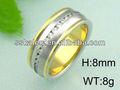 alta polido 24k banhado a ouro anel de diamante anel de casamento