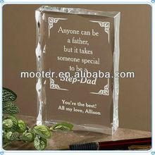 Western 3D Crystal Laser Engraved Plaques For Office Business Manner Set Or Wedding Invitations Favor