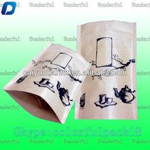 small stand up tea paper bag with ziplock/custom printed kraft paper bag for tea manufactuer/small paper bag for tea/coffee