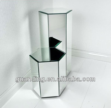 Mirrored Octahedron Shape Pedestal Set