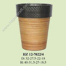 Zinc Flower pot with rattan weaving