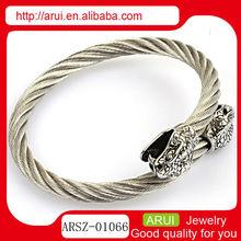 silver bracelets display two head snake twist wire bracelet