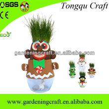 Handmade 2013 Grass Head Snowman Doll for Christmas Ornament