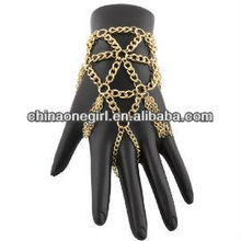 Basketball Wives Fancy Gold Multiple Triangular Style One Size Fits All Finger Ring and Slave Hand Chain Bracelet