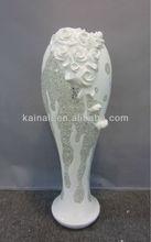 polyresin decoration rose glass vase