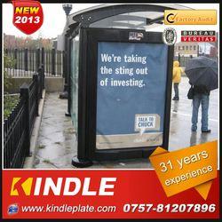 outdoor galvanized metal public modern prefab scrolling light box bus station with advertising billboard