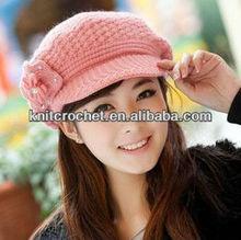 Fashion Lady Winter Acrylic Yarn Girls/Women/Ladies/Knitting Hat /Cap/Headwear With Flower Pattern