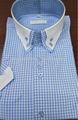 erkek 3 düğmeli İtalyan yüksek yakalı gömlek çift yakalı kısa kollu gömlek