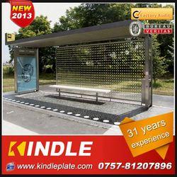 outdoor galvanized metal public modern prefab solar good quality solar bus shelter with advertising billboard