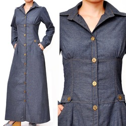 Muslim Shirt Dress Long Sleeve Abaya Cotton Denim