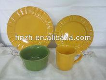 16pcs Classic Single Color Glazed Ceramic ceramic dinner set/new year tableware
