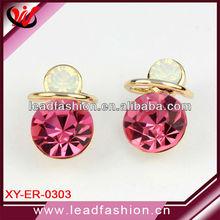 Pink Rhinestone Jewelry Piercing Earrings
