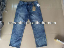 plus size cheap stock basic washed blue men's jeans 2013 for US, Euro markets