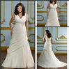 Exquisite Beading Ruched Wrap Tank Satin A-line Plus Size Fat Women Wedding Dress