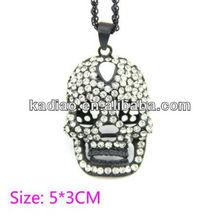 Yueya gunmetal black Crystal rhinestone alloy metal skull head pendant necklace fashion necklace with 80cm length chain