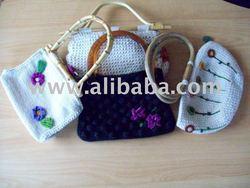 cartera portfolio bag hand-knitted bolso tejido a mano lana alpaca negro crudo