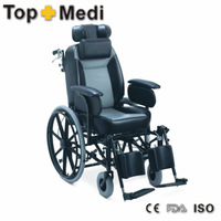 Rehabilitation Therapy Supplies Powder coating steel Reclining Wheel Chair with push to lock brakes pillows wheelchairs