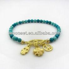 Unique Elastic Turquoise Hamsa Charm Bracelet