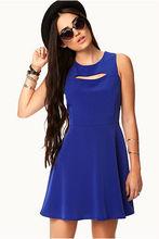 New arrived fashion sleeveless blue dress elegant design ladies casual neck design of A-line dresses
