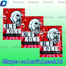 KING KONG Herbal Incense Bag with Ziplock Wholesale/Custom Printed Spice Incense Bag with Zipper for 3g