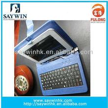 Leather Folio Case Cover with USB/Mirco/Mini interface and multi-language keyboard