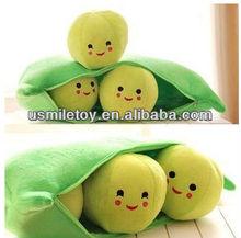 qingdao plush toys green beans shaped pillow