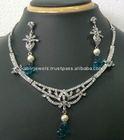 trendy imitation fashion designer zircon diamond necklace jewellery