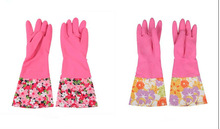 100 g CE Approved Long -Sleeve Two - Coloured Dish Washing Latex Spray Flock Lined Rubber Household Glove