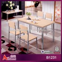 B1231 Popular modern white oak corner simple dining set