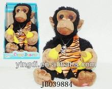 B/O 2014 china popular Sales promotion plush talking monkey musical monkey banana