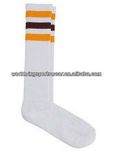 Mens personlized 100% polyester Knee length white gold and burgundy striped sport soccer socks