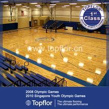 Removable vinyl plank flooring for indoor basketball/volleyball field