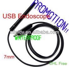 PROMOTION!! 7 mm Lens USB 2.0 endoscope insertion tube 6- LED IP67 Waterproof 5M