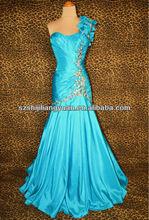 SJ1249 new design one shoulder low price taffeta beaded blue evening dress