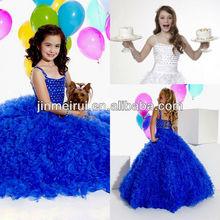 Royal blue white kids glitz spaghetti straps ball gown beaded organza little girl's long pageant dresses cheap JFD035