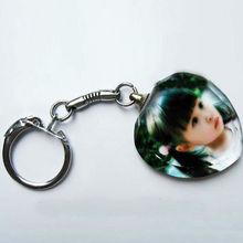 Heart Shaped Crystal Photo Keychain