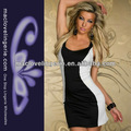 top sexy vestidos de noite curto vestido branco e preto sem mangas moda laço volta para ver através de mulheres senhora roupa por atacado