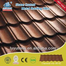 Colored metallic shingle roofing tile