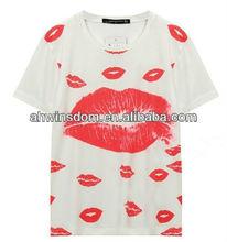 ladies loose mouth print top D20679A 2013 fashion blouse