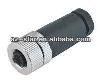 8 pins M12 electrical auto bulkhead waterproof connector/terminal plug