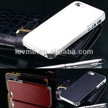 luxury leather case hybrid chrome aluminum frame hard case for iphone 4/4s 5 apple