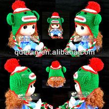 Handmade crochet sock monkey hat knight crochet beanie baby hat 2013