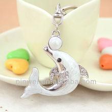 Crystal dolphin and porpoise rhinestone keychain key chain keyring key ring charm SK1041