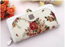 Wholesale price classic flower canvas bag women wallet long card holders lady purses